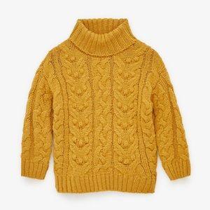 Zara girls sweater size 10 yellow cable knit